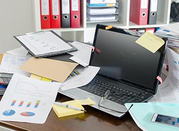 Messy Paper Piles Causing Stress